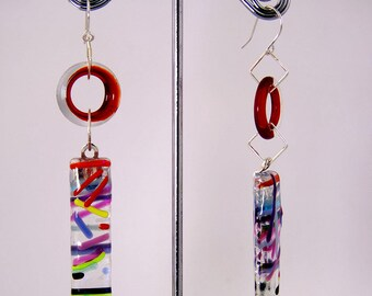 Red Lifesavers and Stix-Fused Glass Fun! Even with a red ring, theselightweight  earrings will still go with many colors.