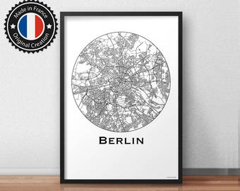 Poster Berlin City Map (A4, A3, A2) Minimalist - City map Poster city, map wall decor