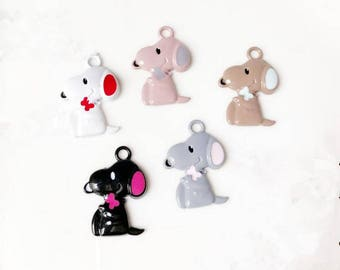 18*25mm Fashion Love Enamel Dog Charm Pendant, Puppy Charms,Colorful Animal Pendant Charms Accessories