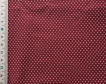 Burgundy dots patchwork fabric white
