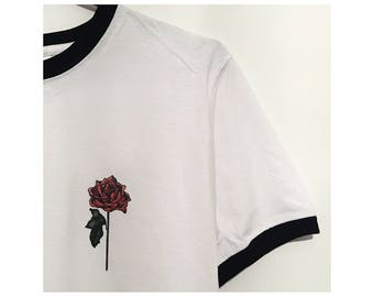 Grunge tumblr hipster aesthetic pinterest flower pocket ringer t shirt