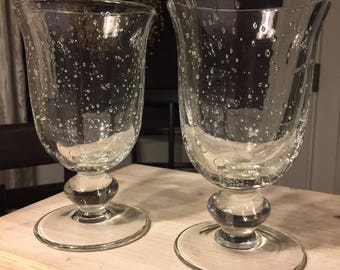 2 Seeded Glass Crystal Goblets