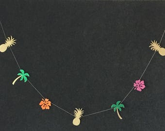 Tropical Garland, Pineapple, Palm Tree, Hibiscus Garland, Colorful Garland