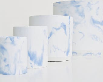 Set of 4 white and blue marbled concrete pots, concrete planters, concrete vessels, plant pots, concrete vases