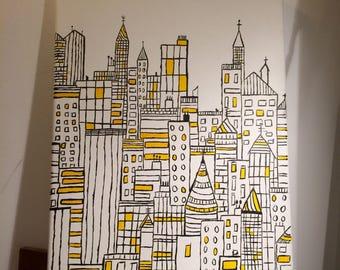 Acrylic painting - city urban landscape