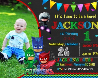 Pj Mask Invitation - Pj Mask Birthday - Pj Mask Party - Mask Invitation - Pj Mask Printable