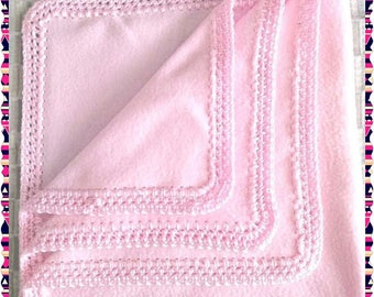 Crochet'd Pink Baby Blanket, Baby Shower Gift, Coming Home Baby Blanket