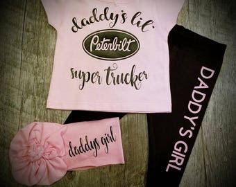 Peterbilt, Daddy's Lil' Super Trucker,  3 Piece Pant Set - Super Cute for the Truck Driving Family!