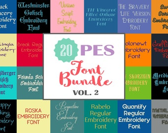 20 PES Font Bundle - Volume 2 - 20 Machine Embroidery Fonts In Four Sizes 0.5, 1, 2 & 3 inch - Instant Download!