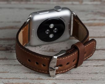 Brown Leather Apple Watch strap, Leather watch band, Apple watch band, Apple watch leather band, Apple watch series 1, 2 and 3