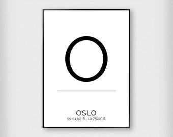 Oslo | City | Black and White | Coordinates - Fashion - Poster