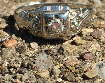 White Gold Diamond Ring 18K