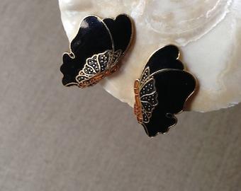 Vintage cloisonne butterfly clip on earrings