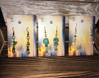 Dangle drop earrings: handmade