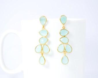 Aqua chalcedony earring, light green color earring,chandelier earring,March birthstone earring,gemstone earring,drop earring ,gold earring