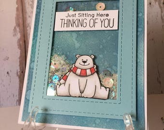 Greating card, miss you, winter, hand made, shaker card, stamped , alcoholic markers, bear, cute, blue, for everyone