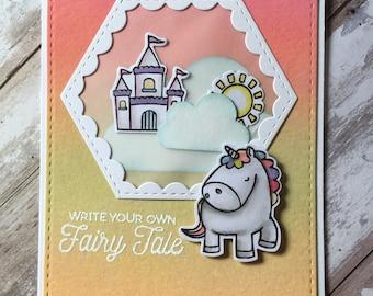 Unicorn , rainbow , fairy tale , greeting card , colorful , beautiful , happy , handmade