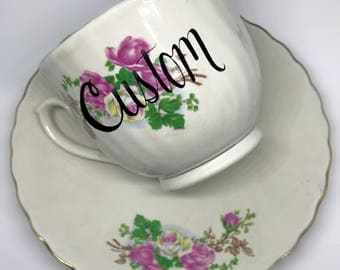 FREE SHIPPING - Cheeky China, CUSTOM!! Pink Floral Tea Cup & Saucer