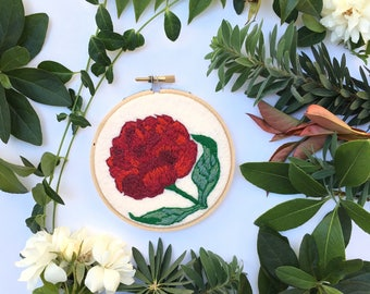 Burgundy Flower,Hand Embroidery Hoop Art, Stitched Art, Home Decor,Embroidery hoop,Fibre Art,Wall Hanging,Needlework,Sewing,Multicolor,Peony