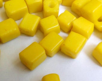 150 seed beads yellow square cubes 3x5mm