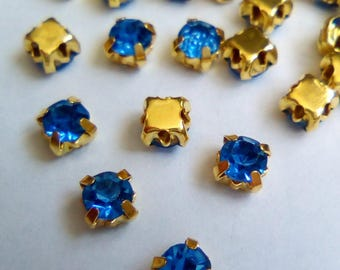 50 rhinestones sewing faceted Golden blue 4mm