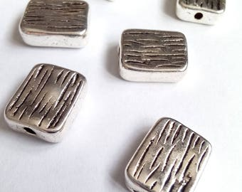 5 striped 12x10mm silver rectangle beads