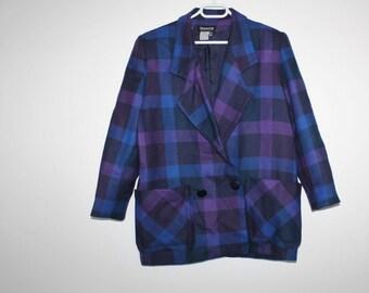 Plaid Wool Jacket Vintage Preppy Blazer Women'sSuit Coat Made in Denmark Wool TWEED Jacket Vintage Blazer 1990 Preppy Style Blu Purple Retro