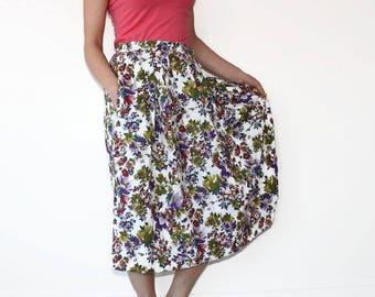 Long Maxi Skirt Floral Full Skirt High Waisted Maxi Skirt Medium Floral Skirt Vintage Inspired Shabby Chic Skirt Blue Green Red Pink Flower