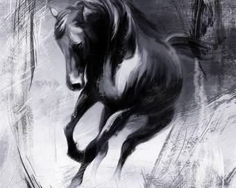 Angry horse, black horse, digital painting, printable digital file