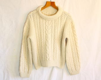 Women's Vintage Aran Roll Neck Cable Knit Handmade Jumper