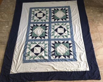 Reduced Vintage Twin size  Handstitched Quilt/ Bear Paw Variant Quilt/ Blue and Green Quilt/ Quilting Bee Project/ Traditional Quilt Pattern