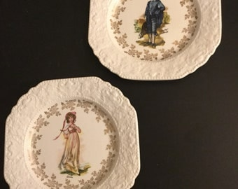 Vintage Handcrafted Lord And Nelson Pottery plates