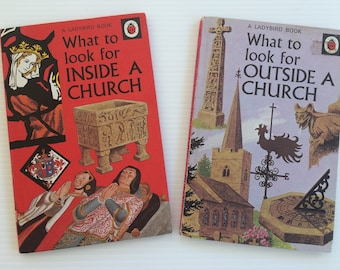 Two vintage Ladybird books - What to look for inside a church - What to look for outside a church