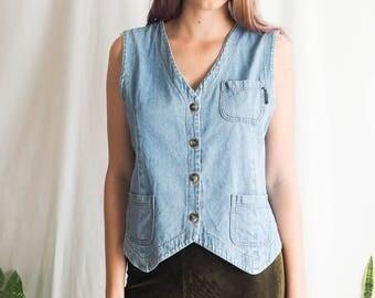 vintage button up denim vest top crop