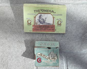 """Vintage Empty Greek pieces of """"SELAM and """"ΩΜΕΓΑ'' Cigarettes boxes for cigarettes"""