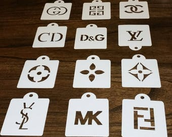 12 Piece Like Designer Logo Stencil Set for Cakes, Cookies, Cupcakes, Candy Apples, Medusa, CC, Birthday Parties, Baby and Bridal Showers