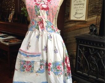 Beautiful  apron designed from a vintage tablecloth