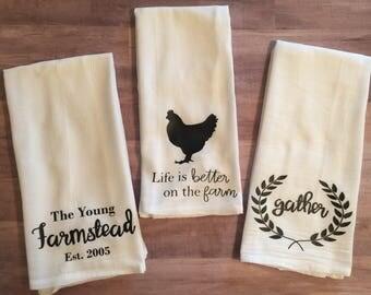 3 Piece Farmhouse Set of Flour Sack Towels