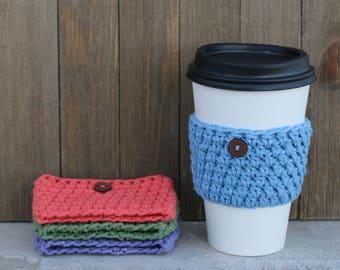 Crochet Coffee Sleeve, Coffee Cup Warmer, Beverage Insulator, Crochet Cup Sleeve, Drink Holder, Tea Cup Warmer, Eco-friendly, Re-useable