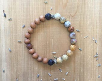 Essential Oil, Diffuser Bracelet, Crazy Lace Agate Beads, Sandalwood Beads, Black Lava Beads, Silver Spacer Beads