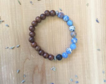 Jasper Bead Bracelet,  Essential Oil Diffuser Bracelet, Lava Bead Bracelet, Madre De Cacao Beads, Impression Jasper Beads, Black Lava Bead