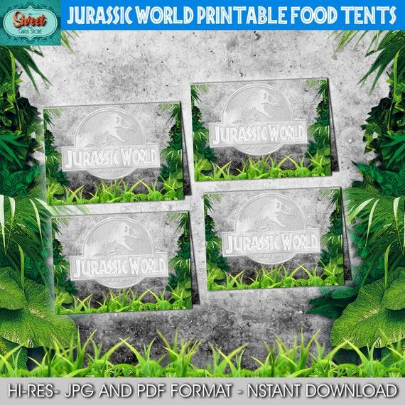 jurassic world printable food tents label jurassic park