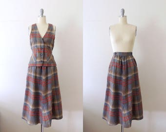 Vintage 1950s gray plaid set with vest and skirt | 50s grey suit with pockets | 50s tailored wool suit | menswear | flared circle skirt | S
