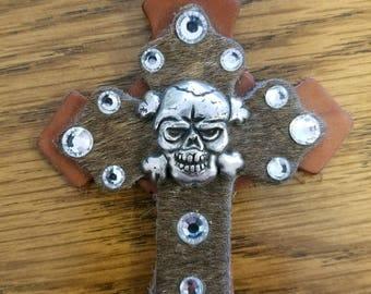 Skull & Crossbones Leather Cross Charm