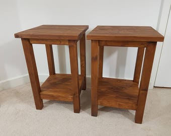 Pair of Solid Wooden Side Lamp Tables Rustic Pine Wood