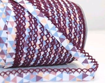 Crochet Bias Tape - Purple Geometric - Double Fold Bias Tape - Clothes Binding - Lace Trim - Sewing Binding - Picot Trim - By the Yard