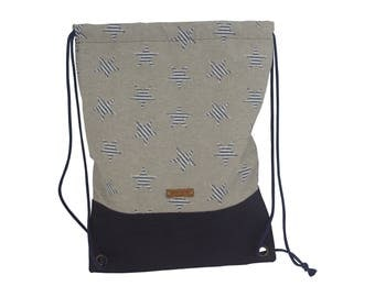 LeKo-Design-handmade turn bag, backpack canvas cork stars Beige