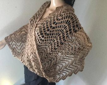 Lace chevron ripple suri alpaca Mobius Moebius convertible shawl wrap cowl snood crochet dye-free fashion infinity scarf