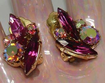 Vintage Juliana DeLizza and Elster Raspberry Pink Aurora Borealis Rhinestone Clip Earrings