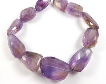 Faceted Amethyst Nugget Beads, 18 x 14 mm to 29 x 21 mm Amethyst Beads, 9 Inch Strand, 11 Pieces #0078